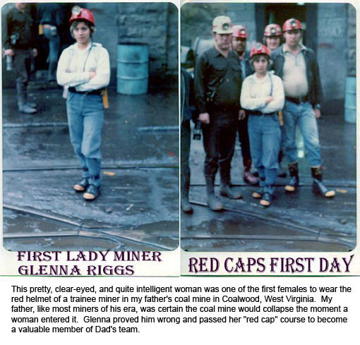 Photos of one of the first woman miners hired by Olga Mine and Homer Hickam Senior in early 70's